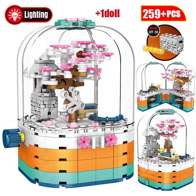 Creative Rotating Music Box City Street View Friends Building Blocks LED Light Cherry Blossom Tree House Bricks Toys for Girls