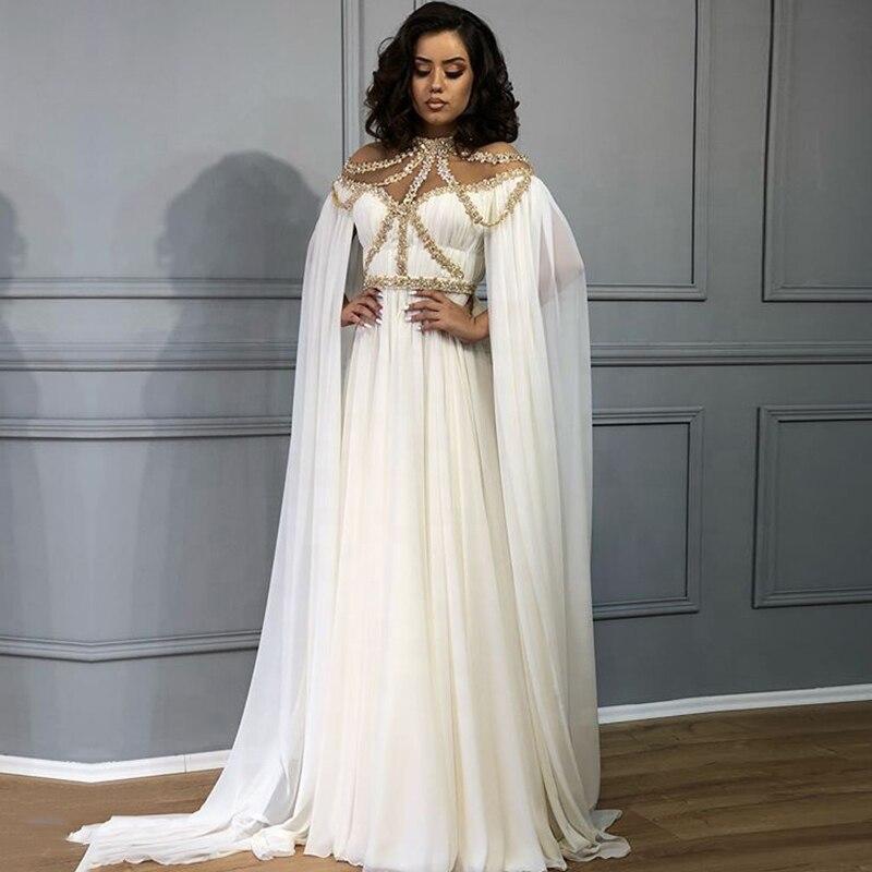Vestidos de festa de gola alta, vestidos brancos e dourados para noite, frisados, a-linha, árabe, longo, capa chiffon, oriente médio, feminino, de baile 2020