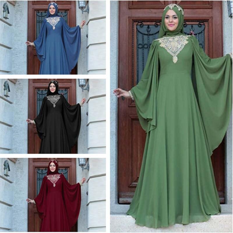 Muslim Abaya Dress Islamic Clothing For Women Plus Size 5xl Dubai Kaftan Dress Turkish Hijab Clothing Lotus Leaf Sleeve Dresses