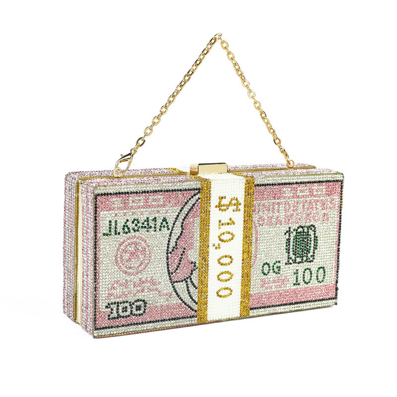 Bee In Fly New Crystal Money USD Bags Dollar Design Luxury Diamond Evening Bags Party Purse Clutch Bags