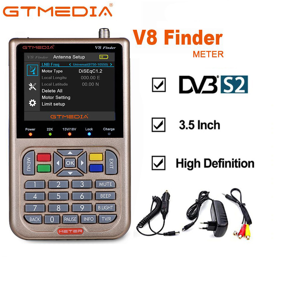 GTMEDIA V8 Finder Satellite Finder DVB-S2 Digital HD Definition Sat Finder DVB S2 HD 1080P Satellite Meter Satfinder Freesat