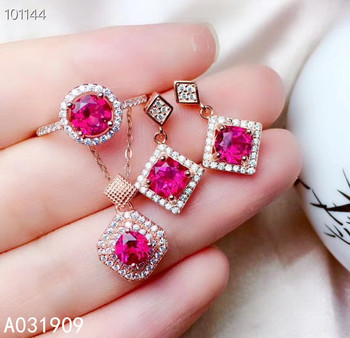 KJJEAXCMY boutique jewelry 925 sterling silver inlaid Natural pink Topaz Earring pendant Ring ladies Suit Support Detection