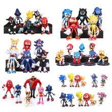 Sonic – figurine d'action hérisson, 7 pièces/ensemble, Sonic Shadow Tails, en PVC, poupées miniatures, animaux, jouets pour enfants, garçon