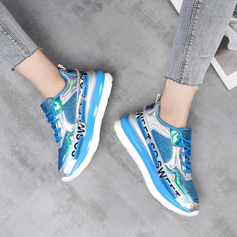 HZXINLIVE ผู้หญิงรองเท้าผ้าใบ Breathable ตาข่ายทองแพลตฟอร์มรองเท้าผู้หญิงฤดูใบไม้ร่วงถักแบน Glitter Sequined Chunky รองเท้าผ้าใบ