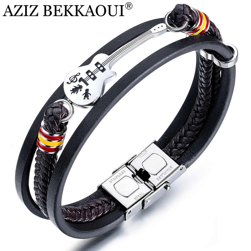 AZIZ BEKKAOUI Dropshipping Stainless Steel Guitar Bracelets Personalized Leather Bracelet  for Men Customized Logo Rope Bangle