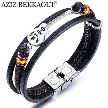AZIZ BEKKAOUI Dropshipping Stainless Steel Guitar Bracelets Personalized Leather Bracelet  for Men Customized Logo Rope Bangle dott zahid aziz introduzione all islam