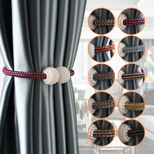 1Pc Magnetic Curtain Tieback Tie Backs Holdbacks Buckle Clip Strap Magnet Pearl Ball Curtain Hanging Belts Rods Rope Accessoires