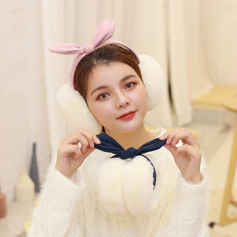 Rabbit Ears Suede Faux Fur Bow Earmuffs Winter Warm Comfortable Folding Soft Plush Ear Cover Women Girls Ear Muffs