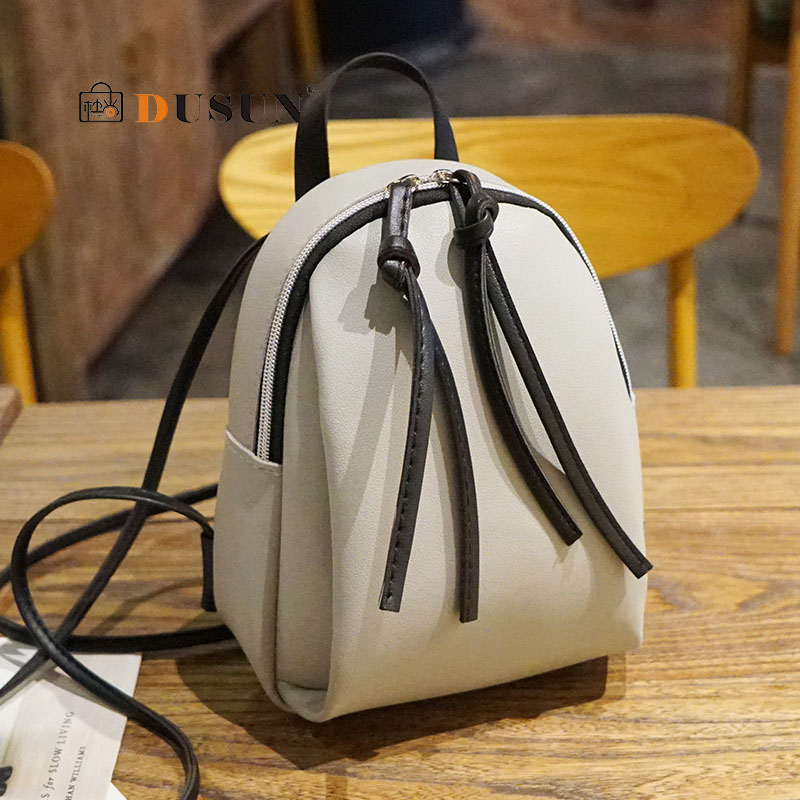 Casual Small Waterproof Backpack Women Solid Color Pu Leather School Bag Simple Mini Zipper Bookbags And Girls Travel Backpacks