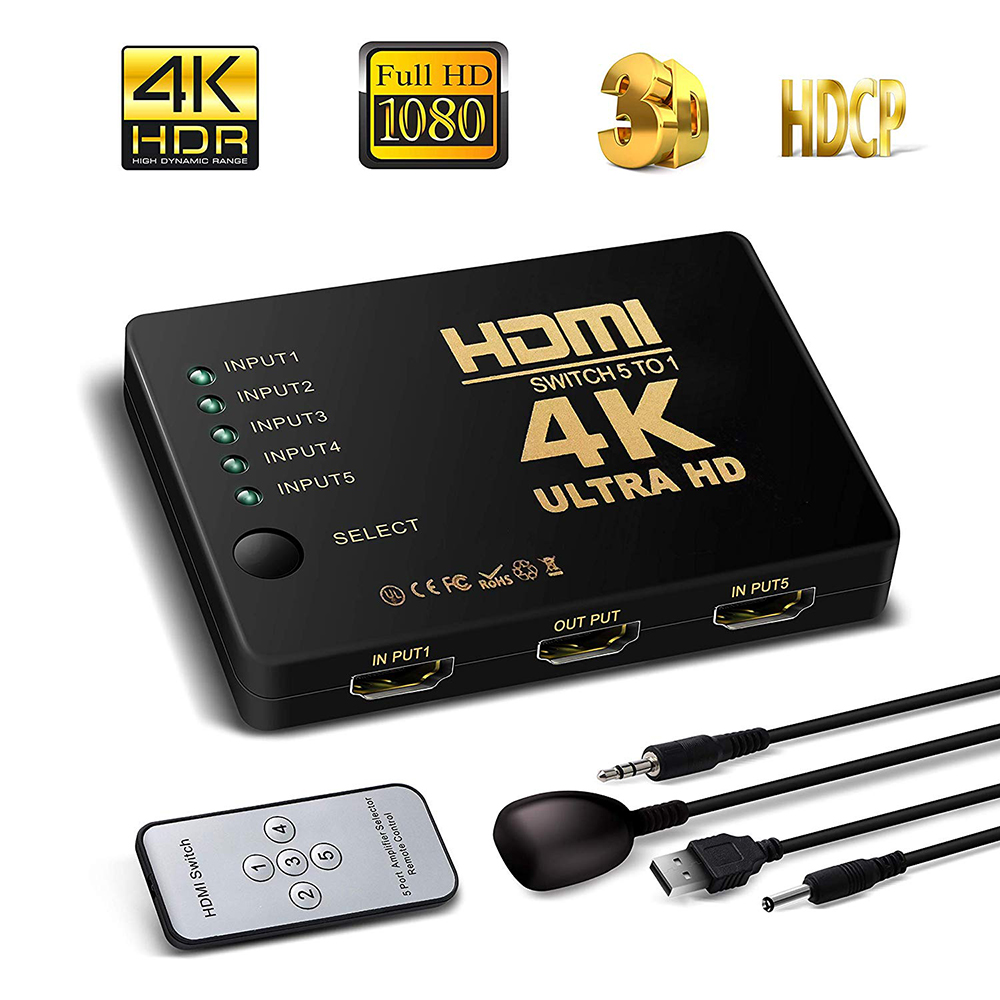 4K HD HDMI Splitter Cable 1080P 5into Port Mini Switcher With IR Remote Controller Selector For HDTV DVD TV XBOX PS3/4 Z2 LAPTOP