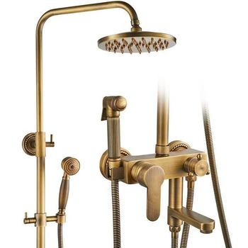 Full Copper European To Fake Something Antique Shower Shower Suit Shower Device Four Shower Stall Shower Room Pressure Boost
