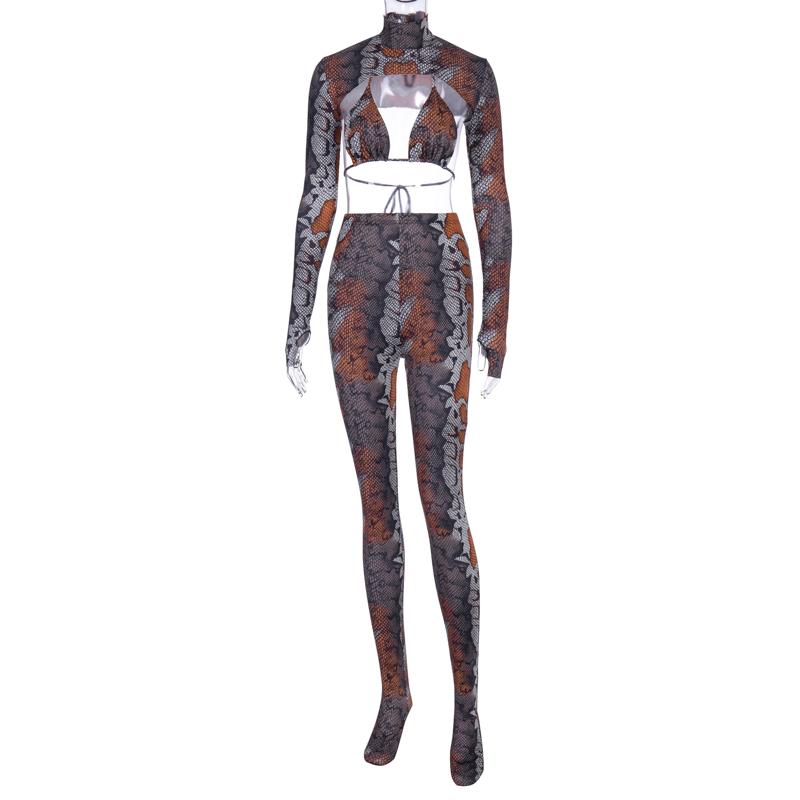Image 5 - Hugcitar 2019 snake print extra crop top bra leggings with socks 3 pieces set autumn winter women sexy club party outfitsWomens Sets   -