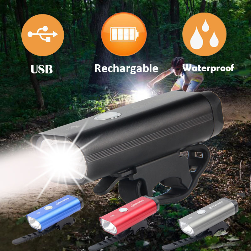 Bike Light USB Rechargeable Bicycle LED Lights Waterproof Cycling Safety Battery Headlight Handlebar Flashlight Accessories