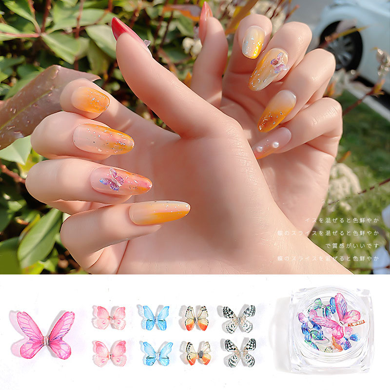 2Pcs/Box Resin Butterfly Nail Shape Manicure Decal Accessories Bling Little Butterfly DIY Design on Nails Decoration