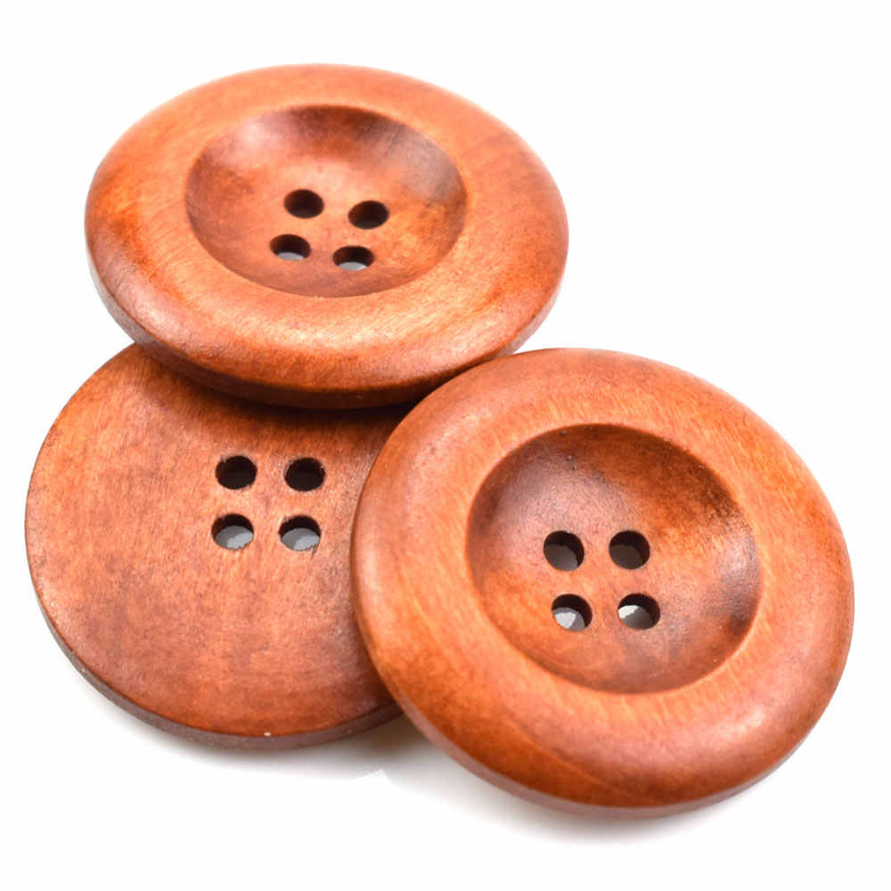 Sewing 10 Round Natural Colour Wooden 4 Hole Buttons 30mm Crafts 1042