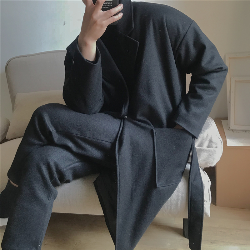 2019 2 Autumn And Winter New Hong Style Loose Male Woolen Coat Fashion Casual Solid Color Coat Jacket Gray / Black S-XL