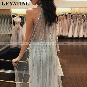 Image 2 - Arabski syrenka długie sukienki balowe z Cape Dubai Kaftan zroszony srebrne suknie wieczorowe 2020 elegancka sukienka na szyję kobiety formalne