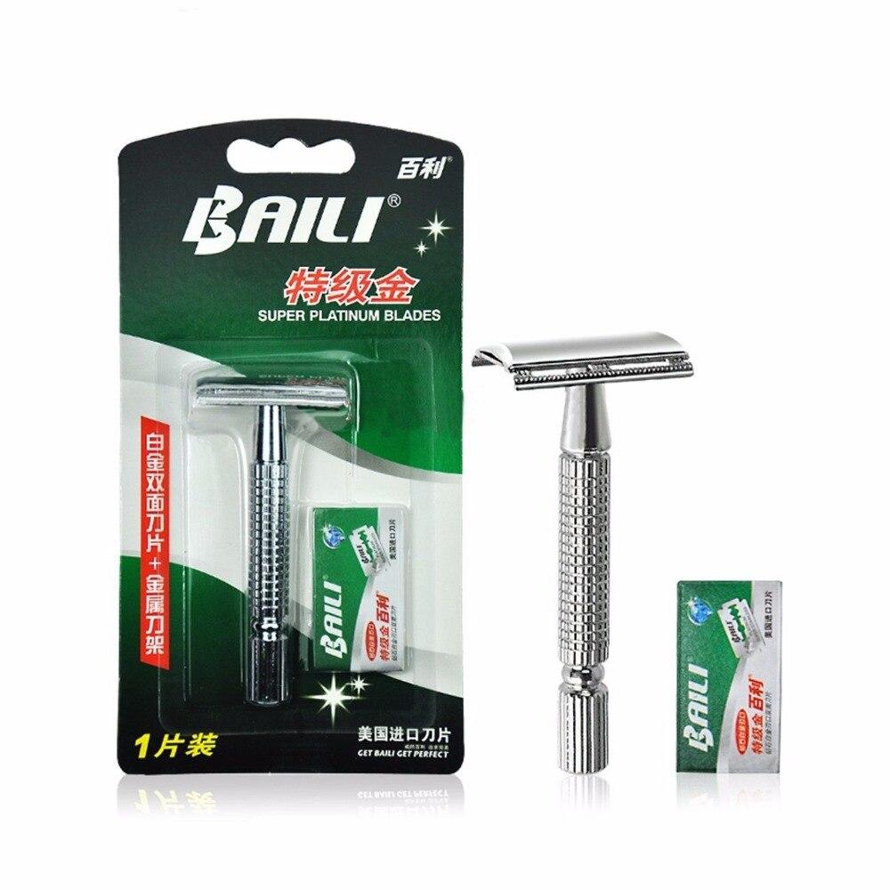 Men's Manual Razor Traditional Men Double Edge Chrome Safety Razor Classic Shaver+Blade