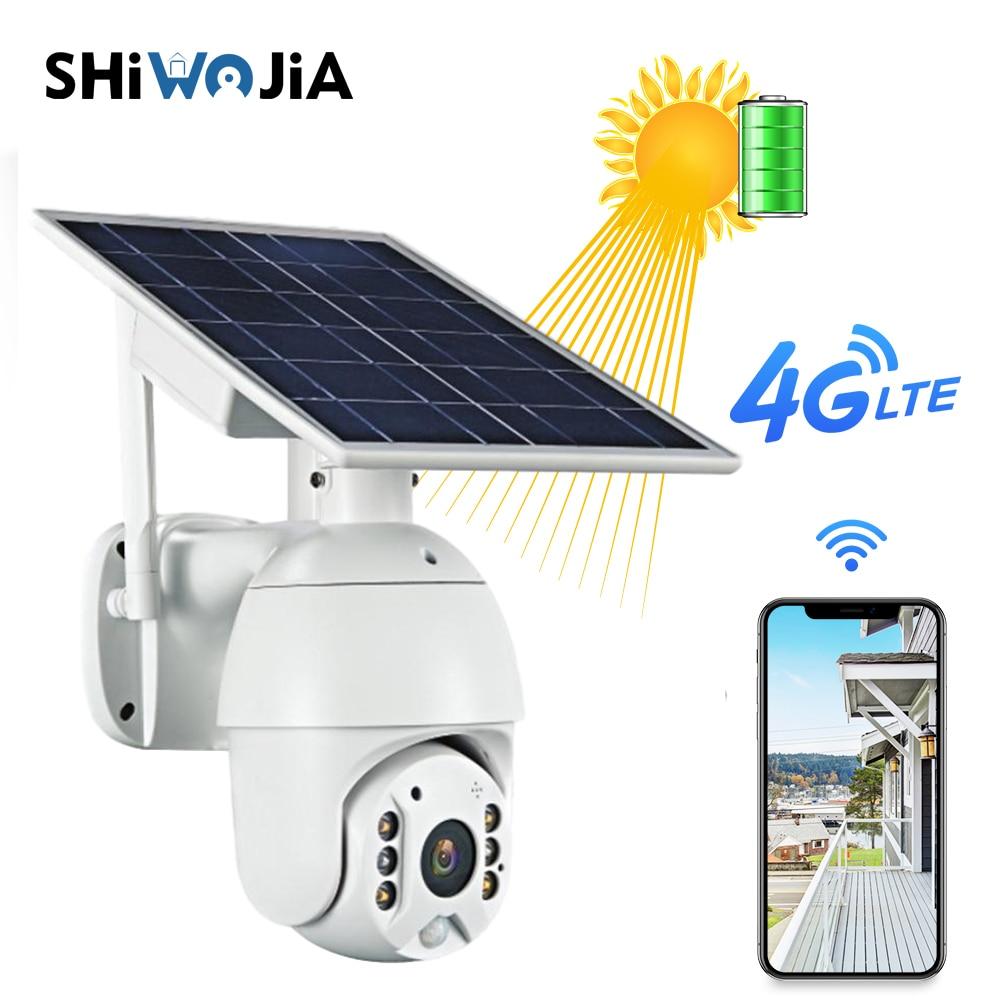 SHIWOJIA 4G  Solar Battery Camera Wifi 1080p HD IP Camera Outdoor Monitoring Waterproof Solar Camera  Two-way Voice Intrusion Al