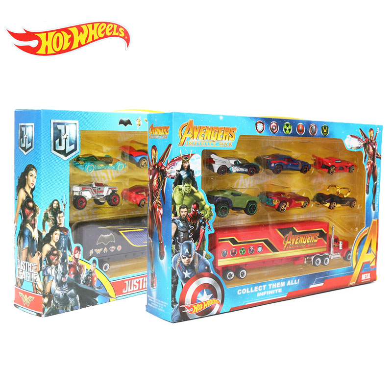 7pcs/set Hotwheels Cars Hot Wheels Avengers Infinity War Alloy Cars Set 1:64 Fast And Furious Diecast Cars Truck Model Car