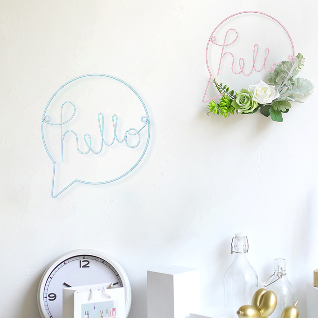 Hello Letters Wall Sticker For Kid Room Hanging Decorations Nordic Style Hallway Sign Welcome Sign Wall Art Iron Wall Hanging