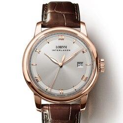 Luksusowe LOBINNI mężczyźni oglądać japan miyota automatyczne mechaniczne MOVT biznes męska zegarki szafirowe skórzane relogio masculino w Zegarki mechaniczne od Zegarki na