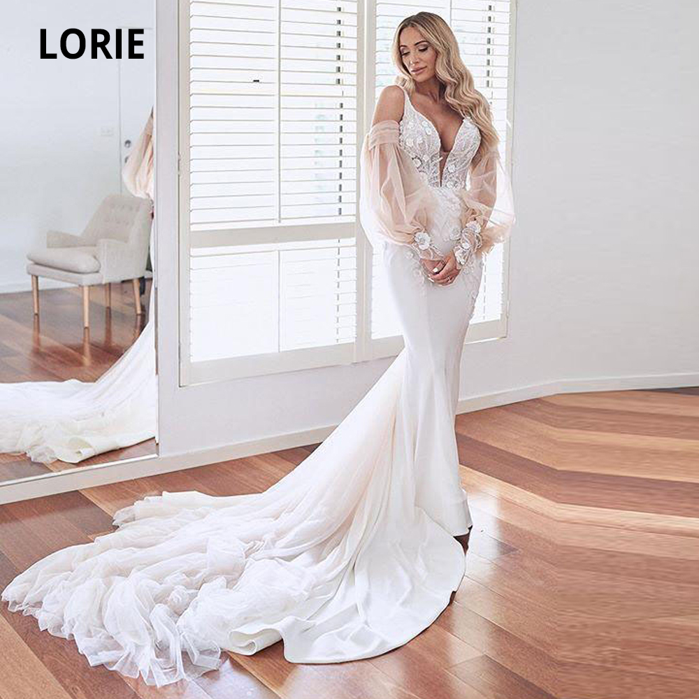 LORIE 2020 Popular Puffy Long Sleeve V-neck Mermaid Wedding Dresses Lace Appliques Open Back Bridal Gowns Court Train Plus Size