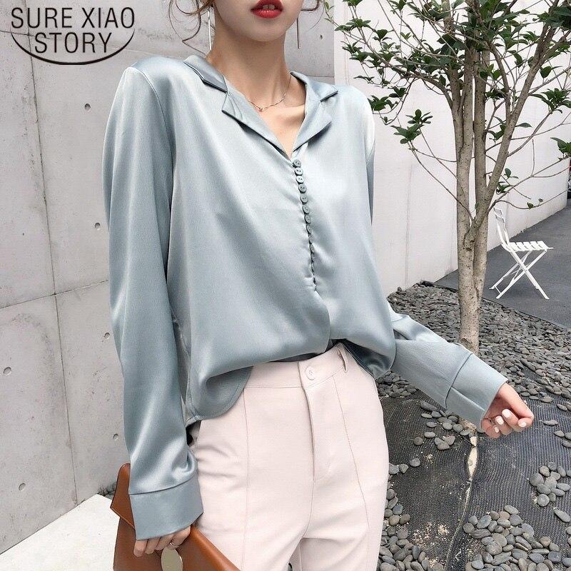 2019 แขนยาวฤดูใบไม้ร่วง VINTAGE ซาตินผ้าไหมเสื้อเสื้อผู้หญิงเกาหลีสไตล์ผู้หญิงเซ็กซี่ V คอเสื้อ Tops ...