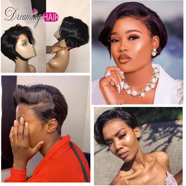 Fryzura Pixie peruka przedziałek z boku koronki przodu włosów ludzkich peruk dla czarnych kobiet peruka krótka maszyna fryzura Pixie Bob peruka 150% prosto 4x4 Bob peruka