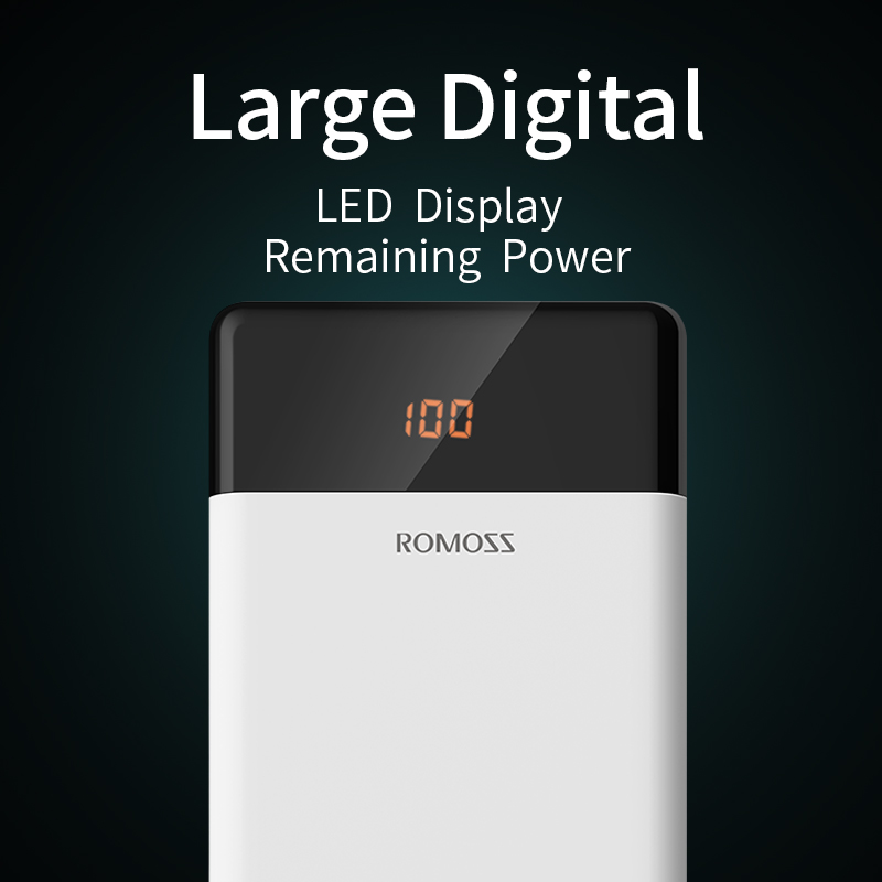 20000mAh ROMOSS LT20 Power Bank Dual USB Powerbank External Battery With LED Display Fast Portable Charger For Xiaomi For iPhone 4