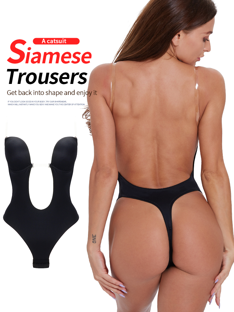 sexy lingerie Slim Fitted Skinny Summer shapewear women lingerie ass pulling Sexy Backless Beha Plunge Bras Thong OnzichtbareBodysuits   -