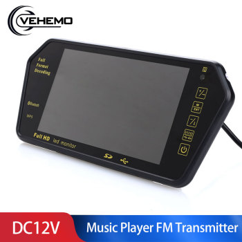 Vehemo DC12V 7 Inchces Car MP5 Multi-Function Rearview Mirror FM Transmitter Bluetooth Music Player Car Rearview Mirror MP5 image