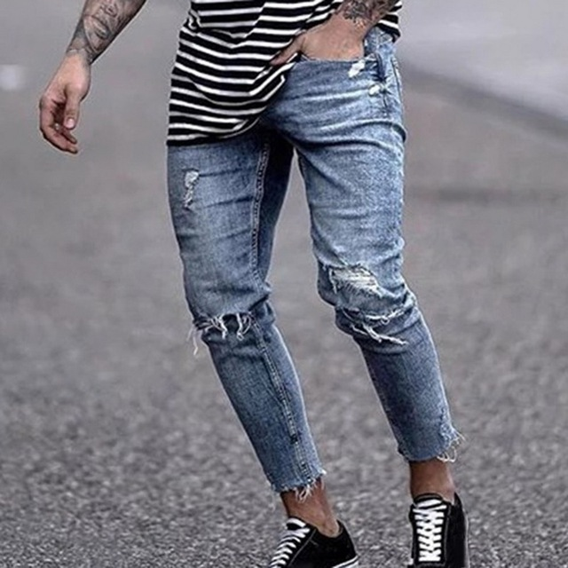 High Street Jeans Homme Ripped Slim Pencil Jean Pants Hiphop Hole Men Jeans Casual Skinny Denim Streetwear Distressed Jeans 3XL