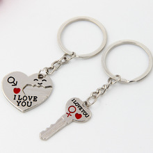 1 Pair Couple I LOVE YOU Letter Keychain Heart Key Ring Silvery Lovers Love Chain Souvenirs Valentines Day Jewelry Gifts