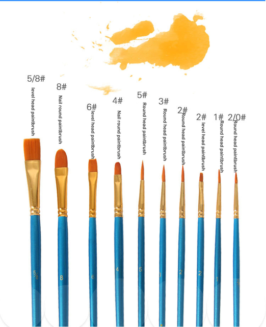 Set Of 10 Economy Acrylic Artist Brushes For Paint By Numbers