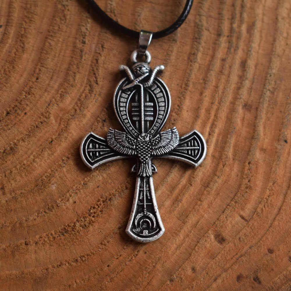 1 sztuk Ankh egipski krzyż naszyjnik w stylu Vintage w stylu egipskim mężczyzn biżuteria przyjaźń naszyjnik prezent
