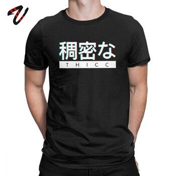 Camisetas estéticas japonesas THICC Logo divertido para hombre estético Vaporwave camisetas camisas de Camisetas cuello redondo