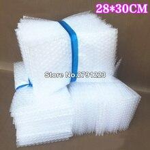 100 個 28*30 センチメートルプラスチックラップ封筒白バブル包装袋 PE クリアバブル袋耐震バッグダブルフィルムバブルバッグ