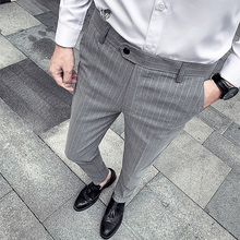 British Style Man Slim Striped Suit Pants Male Smart Casual Trousers Spring Summer New Fashion Men Business Pant