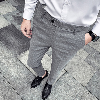 korean Style Man Slim Striped Suit Pants Male Smart Casual Trousers Spring autumn New Fashion Business mens dress pants