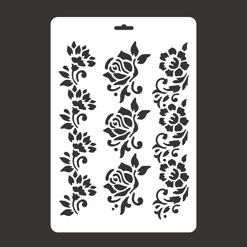 Rose Flower Rulers Stencils For Walls Painting Scrapbooking Cute Gift Stamp Photo DIY Album Decor Embossing Paper Cards Craft