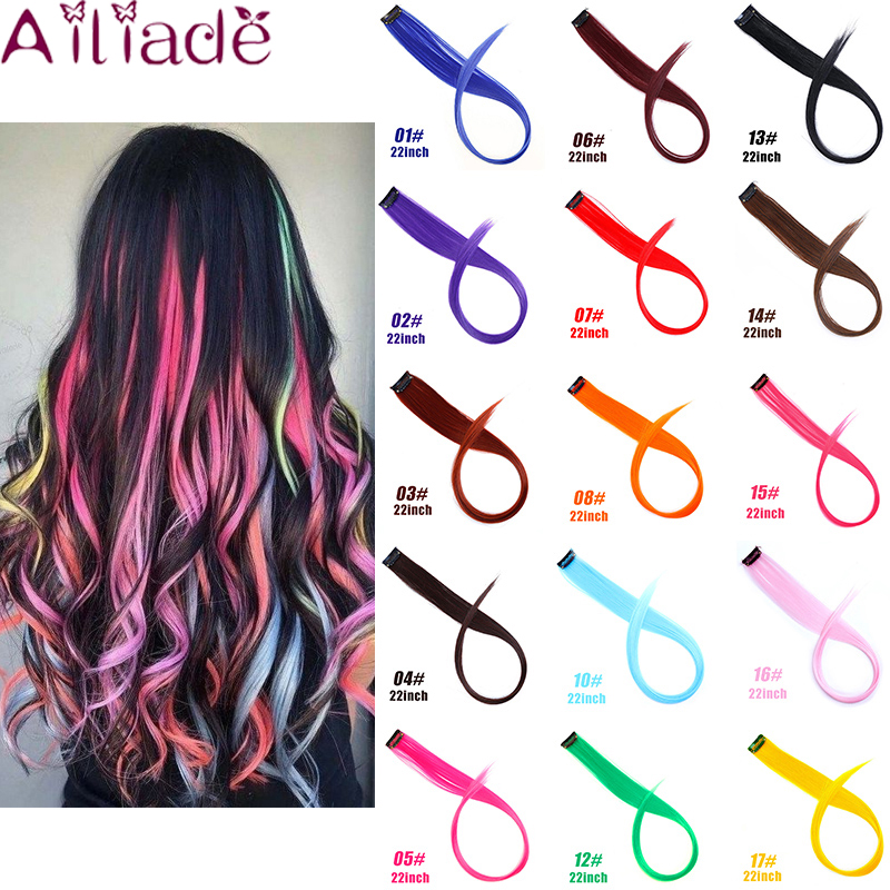 AILIADE Heat Resistant Ombre Pink Light Green Light Purple Long Straight Hair 1 Piece Clip Synthetic Hair Extensions 2 Tone Hair