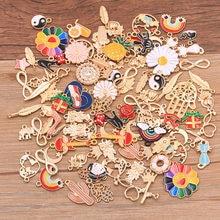 Breloques en alliage métallique, 20 pièces, mélange de tailles 10 à 200, pendentif en or KC pour la fabrication de bijoux et colliers