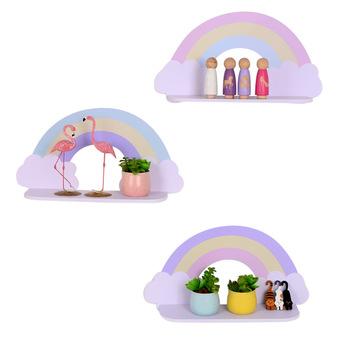 Styl skandynawski pokój dziecięcy półka dekoracyjne drewniane tęczowe chmury półka ścienna Home Decor dla dzieci pokój akcesoria do dekoracji wnętrz tanie i dobre opinie Wiszące Nowoczesne Drewna