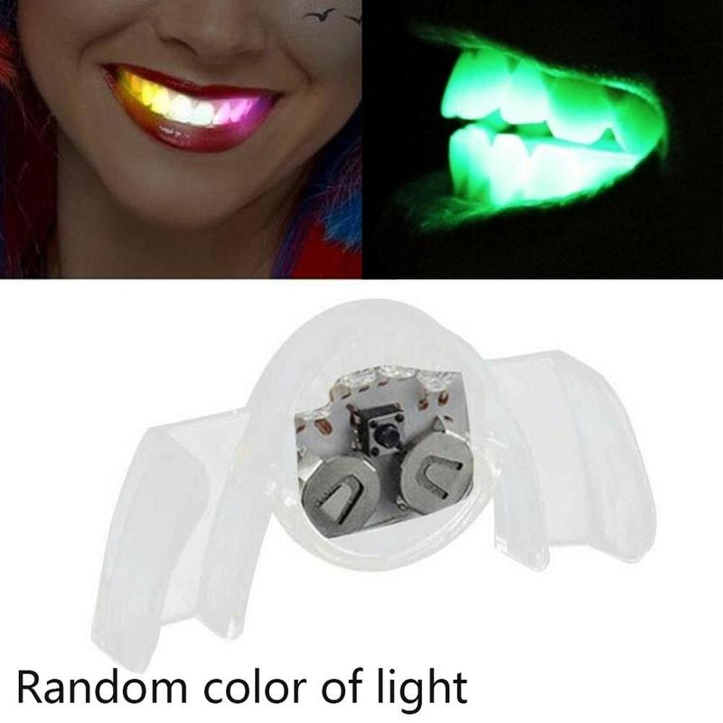 1 Pc Colorful LED Flashing Light Glow Teeth Toy Light Up Mouth Piece Brace Halloween Party Glow Tooth Gift