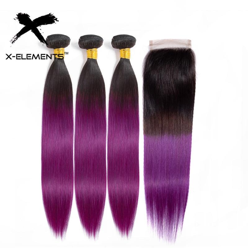 Brazilian Hair Weave Bundles T1B/Purple 10