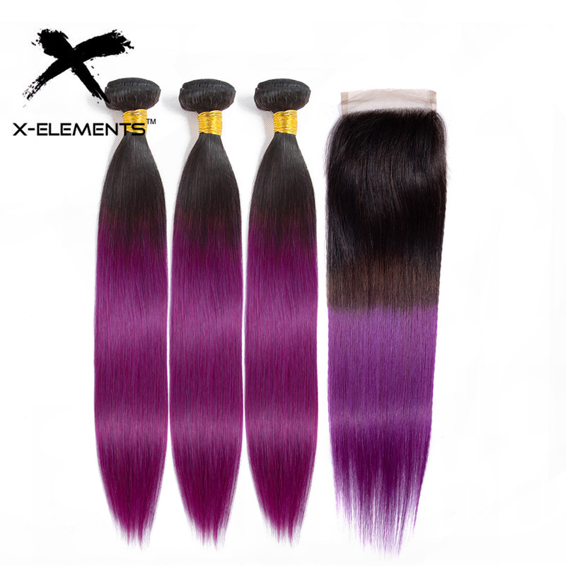 X-Elements Ombre Brazilian Straight Hair Bundles With Closure 3 Bundles Ombre T1B/Purple Human Hair Weave Bundles With Closure