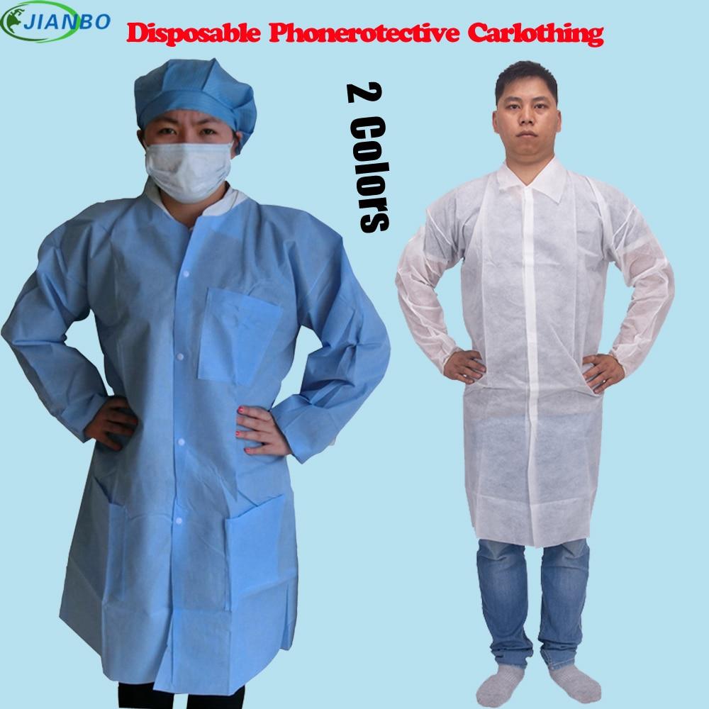 מעבדה חד פעמית מעבדה מעיל עבים SMS לא ארוג סרבל עבודה סרבל עבודה נקייה כחול אבק בגדי עבודה מגן
