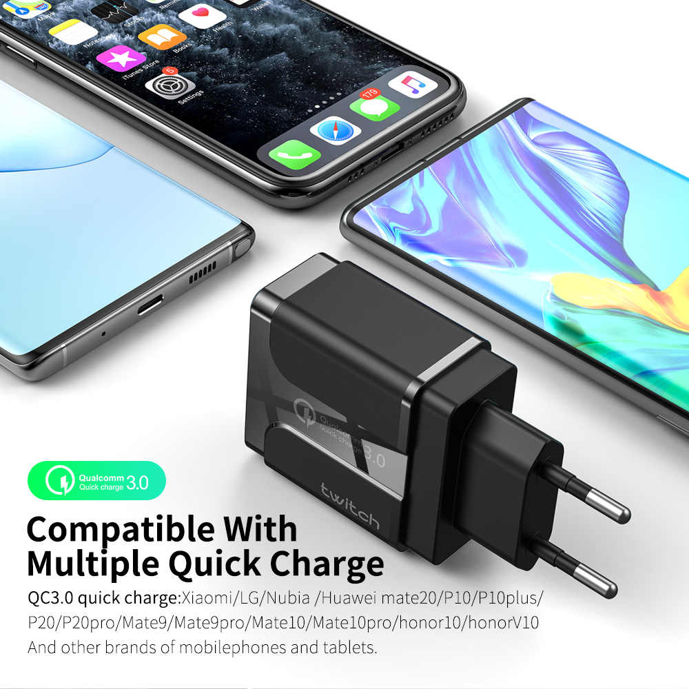 Twitch 18w Quick Charge 3.0 Dual USB Charger Adapter EU US UK Travel Wall QC3.0 Fast Phone Charger for iPhone Samsung Xiaomi
