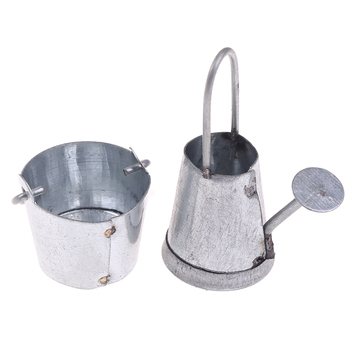 2pcs/set 1:12 Dollhouse Miniature Metal Water Bucket Kettle Model Furniture Toys for Baby Kids